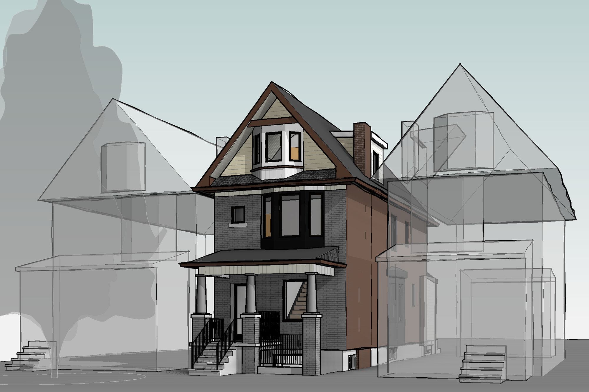 <span>Junction Triangle</span> Toronto<br />The front walkout for this basement apartment is inserted under the home's front porch, barely noticeable from the street.